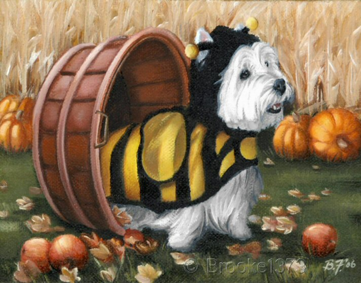 art, West Highland Terrier, dog, painting