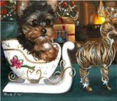 yorkie cards, yorkie, Christmas painting, Yorkie, Yorkshire Terrier, art