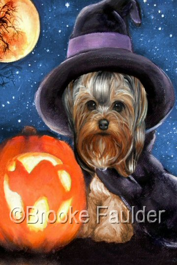 Tabatha seemed a fitting name for this painting of a little Yorkie puppy as she poses in her witch halloween costume.A small breed dog like a Yorkie could sometimes fit inside a pumpkin, but the jack-o-lantern in this painting is just the right size. The scary cat with the arched back on the pumpkin carving  brighten up this otherwise starry night.