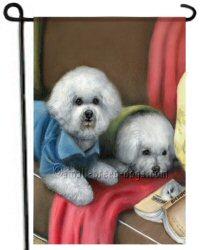 Two Bichons, dog painting, garden flag, dog art, Gift for dog lovers, pet lover gift