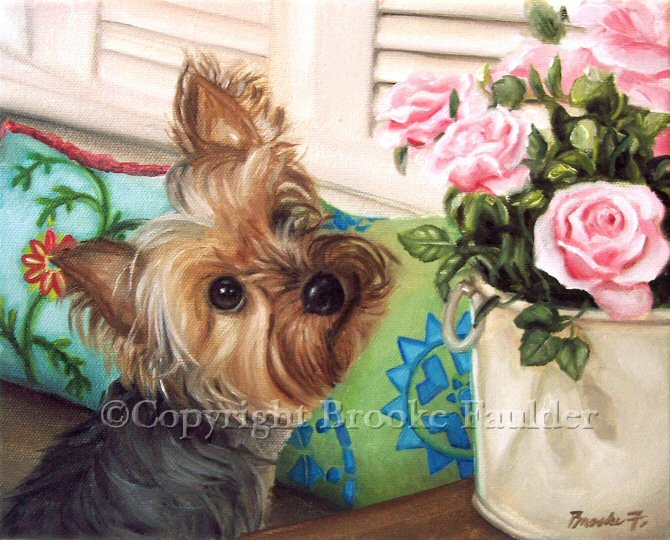 One of my most liked paintings. Several prints of this Yorkshire Terrier paintings have been collected worldwide. The cute puppy cut on this little dog along with his peaceful gaze upon the pot of pink roses gives this painting a feel of a dog who is truely content and takes the time to stop and smell the roses.