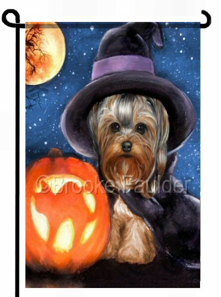 Tabatha is a Yorkie in witch costume. Garden flag features a dog, a cat carved jack-o-lantern, full orange moon and lots of stars.