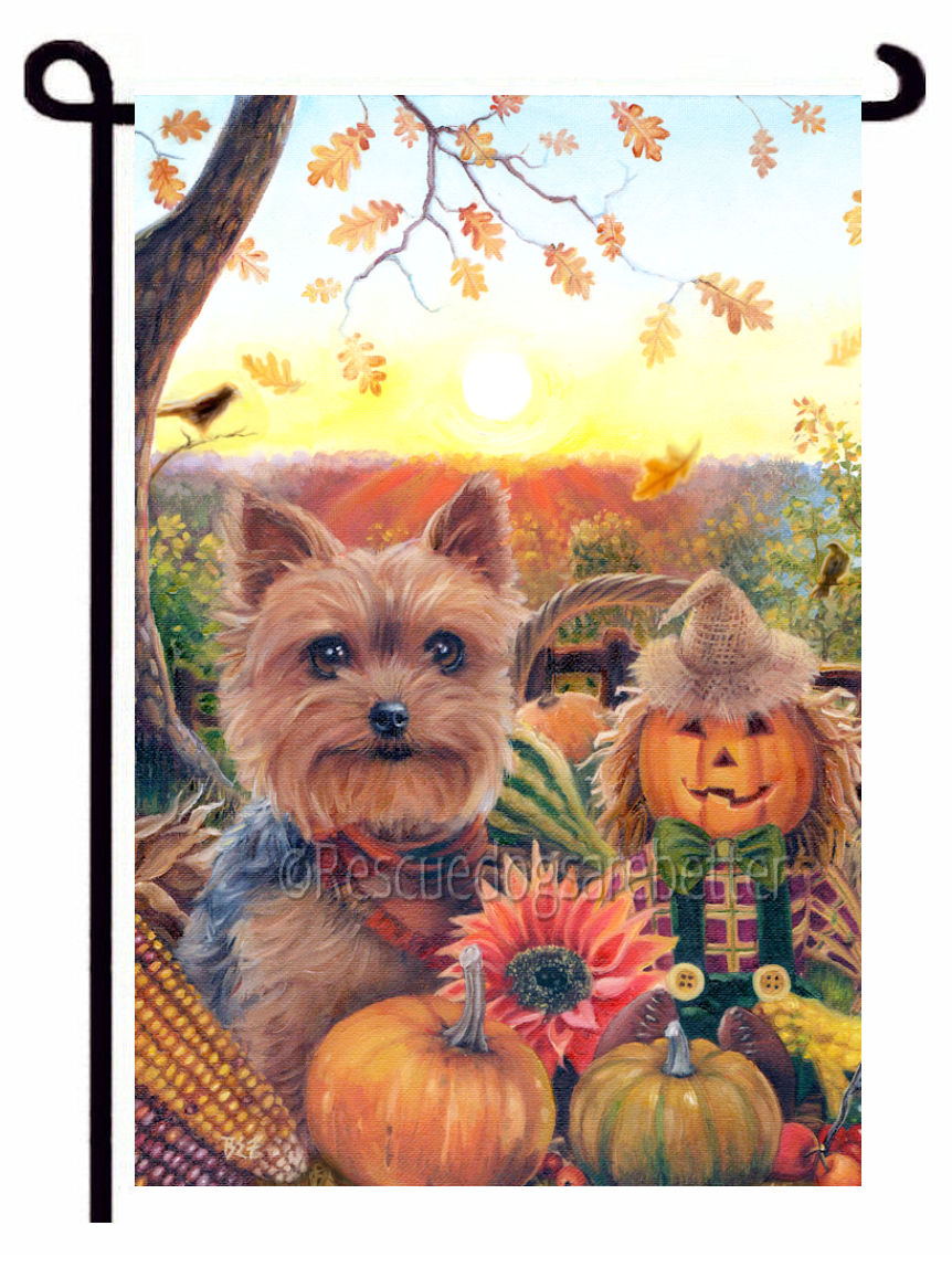Fall Yorkie outdoor decor