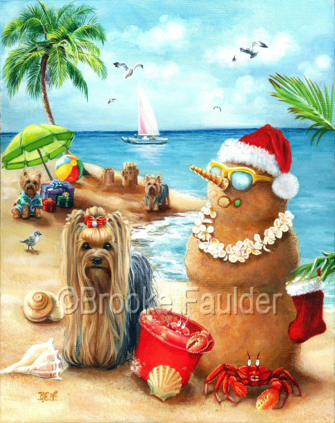 Christmas art painting that features a yorkie on hawaiian beach with other dogs, a sandman, red crabs in a cute scene. Original dog oil painting by Brooke Faulder