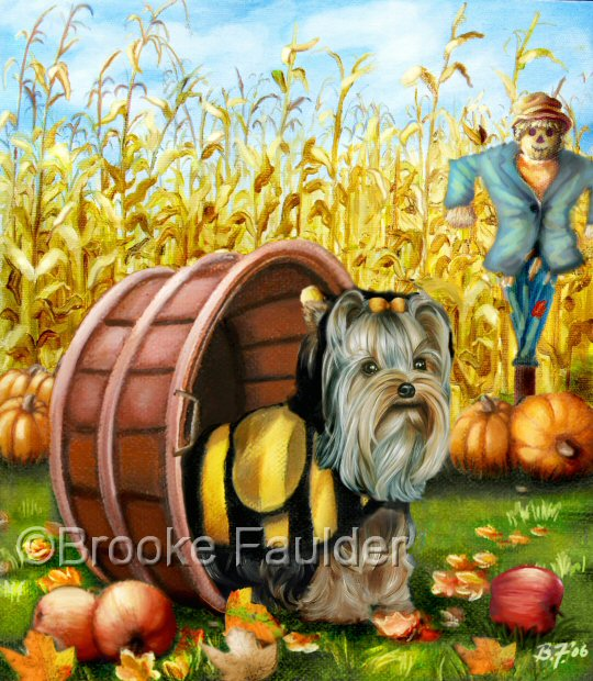 Because Country Westie was so popular, Country Yorkie was born. A scarecrow in the background must be doing it's job, because there's not a crow to be seen. The Yorkie, however, doesn't seemed to be concerned with saving this year's harvest as the apples spill onto the ground while he plays in the basket. Prepared for trick-or-treat, he wears his little bee costume and looks skyward, perhaps looking for a crow who might dare to land...