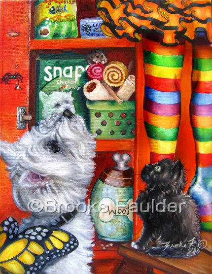It's beggar's night and that includes the Westie and the black kitten in this painting. As the little girl in rainbow tights reaches for an item on top of the orange cabinet, the animals hope it's something for them... although the kitten may have her eye on the spider that dangles, the West Highland White Terrier looks hungry. He doesn't even seem to mind the butterfly wings that make up his own Halloween costume. Looks like the mouse has already found a couple of tasty treats to nibble.