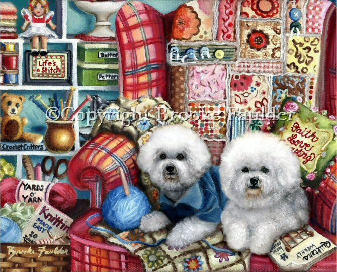 The two Crafty Bichons in the paintings probably aren't the ones who stitched the quilt, crocheted the teddy bear or knitted the afghan, but they are helping to adorn the center of this cute, fun dog art.