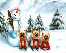 Three yorkies skiing sets the scene in this paintng that was commissioned in acrylic on art panel. Snowmen, snow covered pine trees and snowy mountain slopes complete the image.