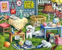Yard sale was painted with the bichon Frise puppies center stage. Notice the sign that says puppies are not for sale. ;) Three more Bichons are doing what dogs do amongst the yard sale items including an old tv set, some cute luggage with a train case, puzzles, shoes, etc. A cute vw bug and a bicycle keep your eye moving over this colorful painting. Listed for sale now for the first time.