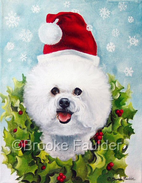 The Bichon Frise wearing a wreath of holly in the Christmas painting is a hit at Christmas time. The garden flag orders alone that I sell with this image are hard to keep up on. The happy, smiling (as they often do) Bichon in this painting holds out his tongue in the hopes of a catching one of the falling snowflakes and gives this image a playful feel of joy and laughter, both of which are perfect for the season! Looking for new  animal art to display on commercial products? I'm open to hearing your ideas.