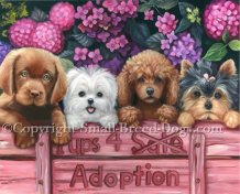 Pups for adoption painting with chocolate lab, maltese, poodle and Yorkie. Hydrangeas in the background.