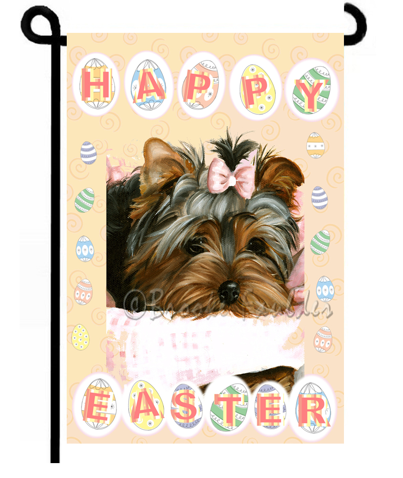 Yorkie puppy with bow, Yard decoration perfect for easter