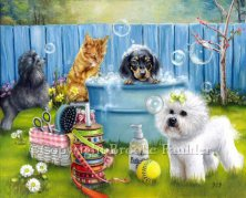 Rub a dub Dog is a painting that showcases a grooming party. The dogs chasing bubbles as they prepare for bathtime. The dachshund doesn't seem to mind the bath. The kiitten is washing himself and the bichon and poodle are fascinated by the bubbles the suds have created. A spool of ribbon for hair bows and basket containing a brush, comb, scissor and some yellow flowers picked impromptu while preparing to groom the dogs.