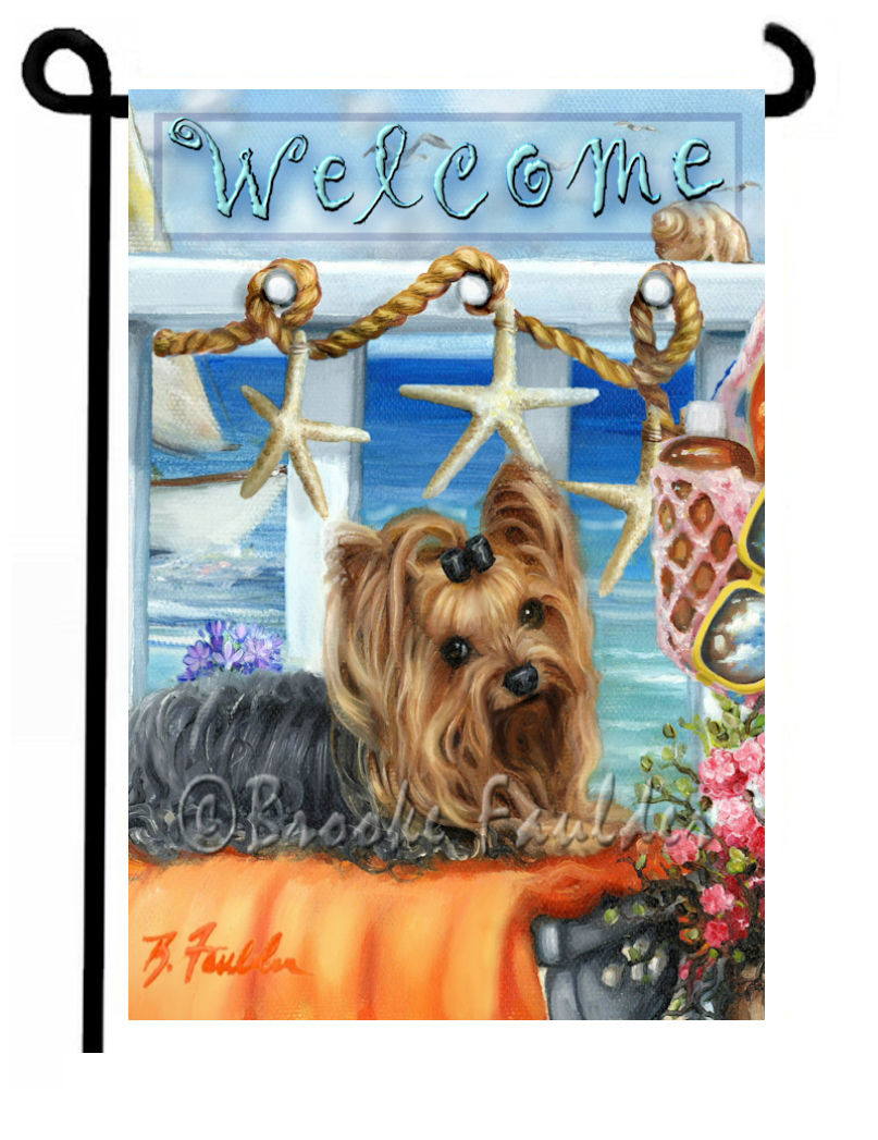 Welcome flag with Yorkie and starfish. seagulls, rope and boat in background