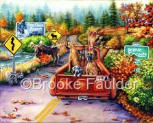 Moose Crossing is a Great Dane painting that was licensed for use by a puzzle comapany. The original painting is still for sale, featureing autumn scenery with several great danes, some riding in the bed of a truck and one in the passenger seat. Also notice the moose and the raccoons watching the dogs go by- on their way to their destination vacation.