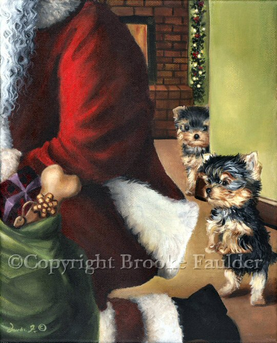 Two Yorkie puppies sneak up on Santa as he unloads his pack. Looks like there may be something for them in Santa's bag. The dog bone looks almost as big as the puppy.