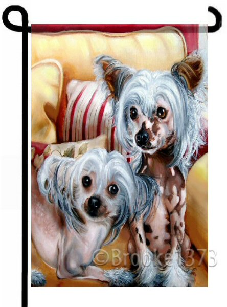 Hairless Chinese Crested  Prim and Playful  12x18 dog flag for your garden.