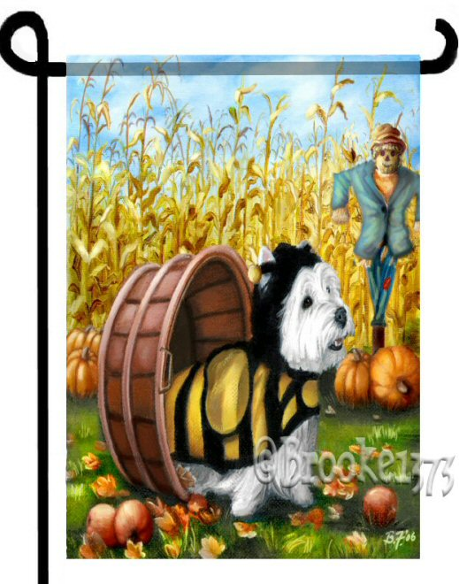 Country Westie dressed in bee halloween costume. a scarecrow stands watch over the cornfield and pumpkins and apples are scattered in the yard on this bright colorful dog art flag.