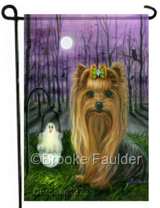 Halloween art with long haired dog, purple sky and tree shadows
