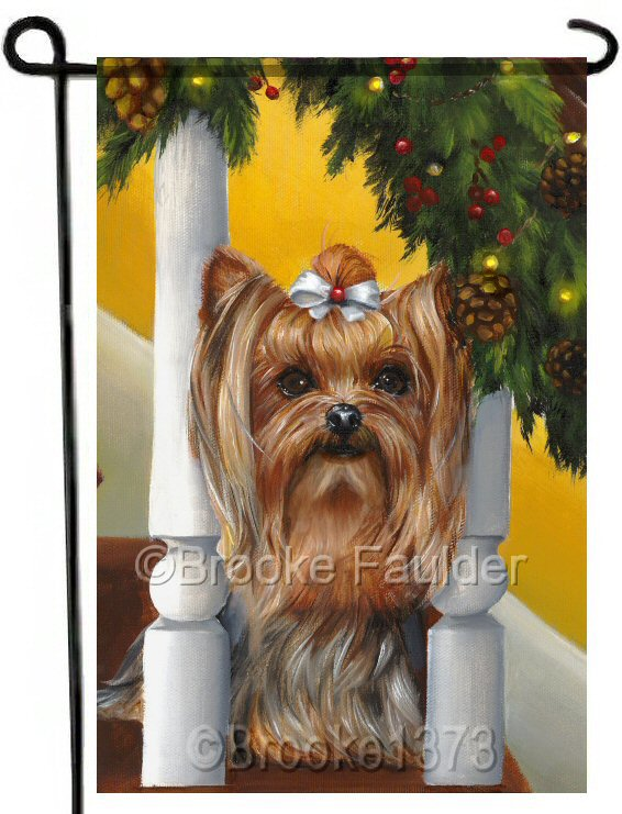 Tiny Yorkie sitting on the staircase and staring at the sparkling lights wrapped around the banner on the Christmas garland. Garden flag is 12 x 18 inches and weather and UV resistant.
