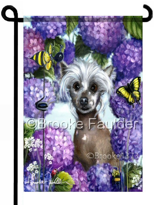 Chinese Crested garden flag. Hairless chinese crested dog art banner for landscaping. Art is a great addition to any yard or flower bed. Purple and violet hydrangeas surround the dog along with a bumble bee pinwheel and yellow butterfly.