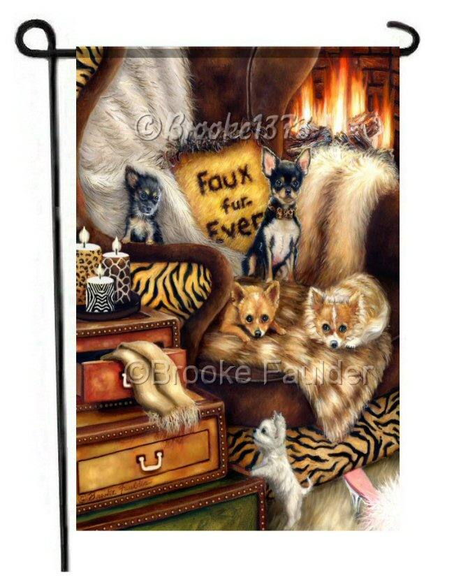 Five chihuahuas garden flag with faux fur pillow, faux fur throws and tiger print chair. Leopard print, giraffe print and zebra print are all just as beautiful in faux. No animals died in the making of this garden flag :)