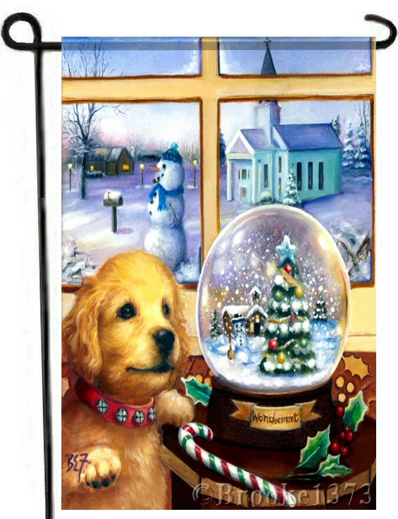 Gazing in Wonderment garden flag with labrador, golden retriever puppy staring into a snowglobe named wonderment.