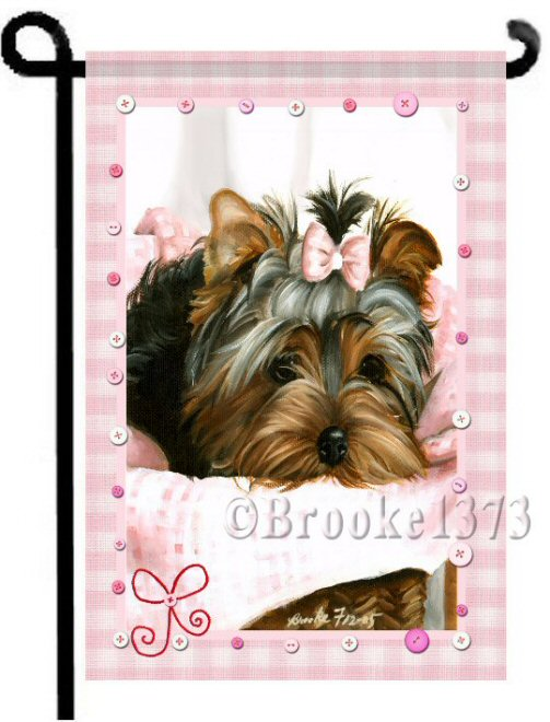 Pink Gingham blanket, Yorkie puppy in basket wears a matching bow