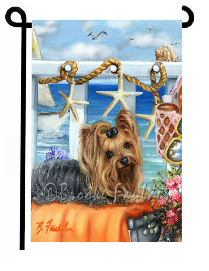 Yorkshire Terrier and starfish. Beach scene dog art with boat, blue skies and orange towel for contrast