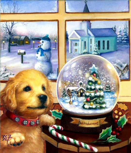 Notice that the snow globe is named wonderment and the expression on the lab puppy's face also seems to say wonderment.  Cool colors outside, the snowman, church and snow, contrast nicely with the warm colors inside for this dog painting.