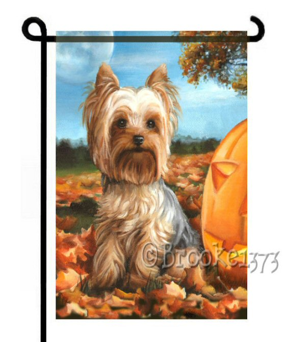 Before Twilight Yorkshire Terrier flag with pumkin and autumn leaves.