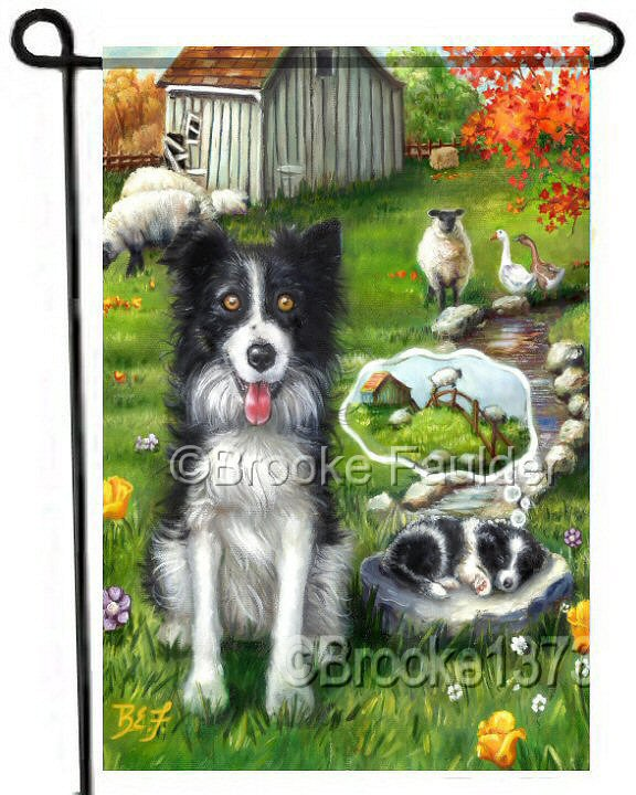 Sheep in the meadow, stream running through the pasture an old dilapidated barn and two border collies. The border collie puppy is asleep on the job and dreaming of the sheep jumping the fence. Garden flags are great gifts for dog lovers!