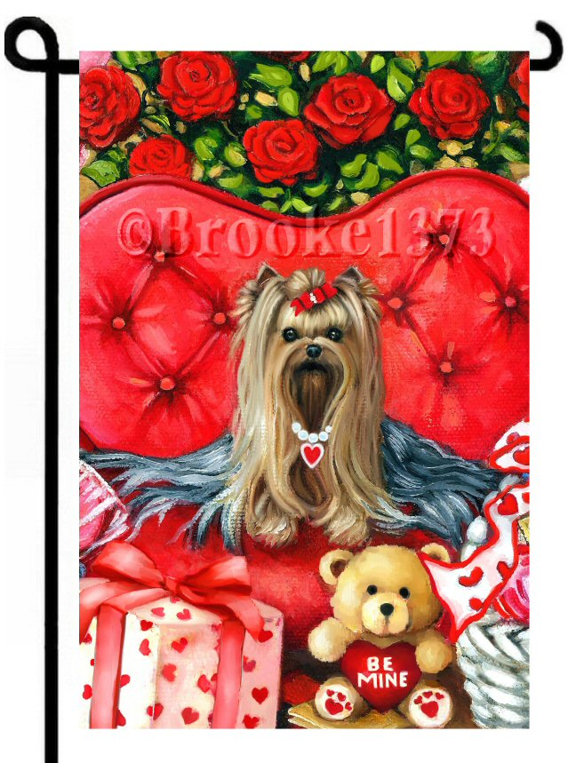 Valentine Yorkshire Terrier painting on red heart chair with teddy bear and gift.