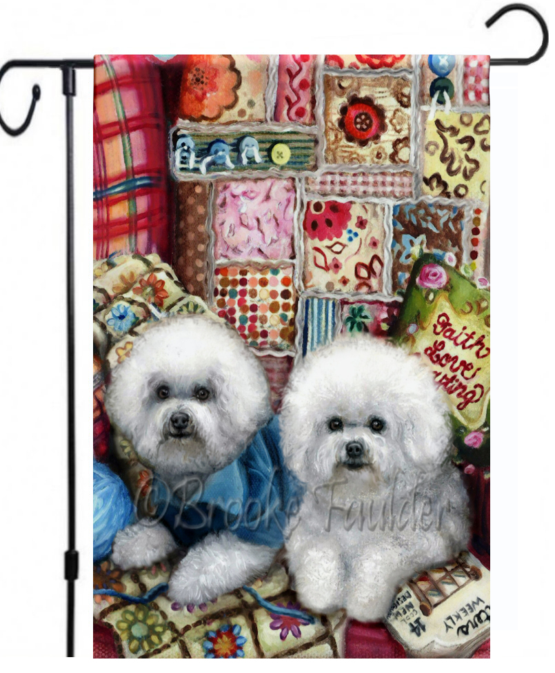 Bichon frise garden flag with dog two dogs and colorful afghan and quilt