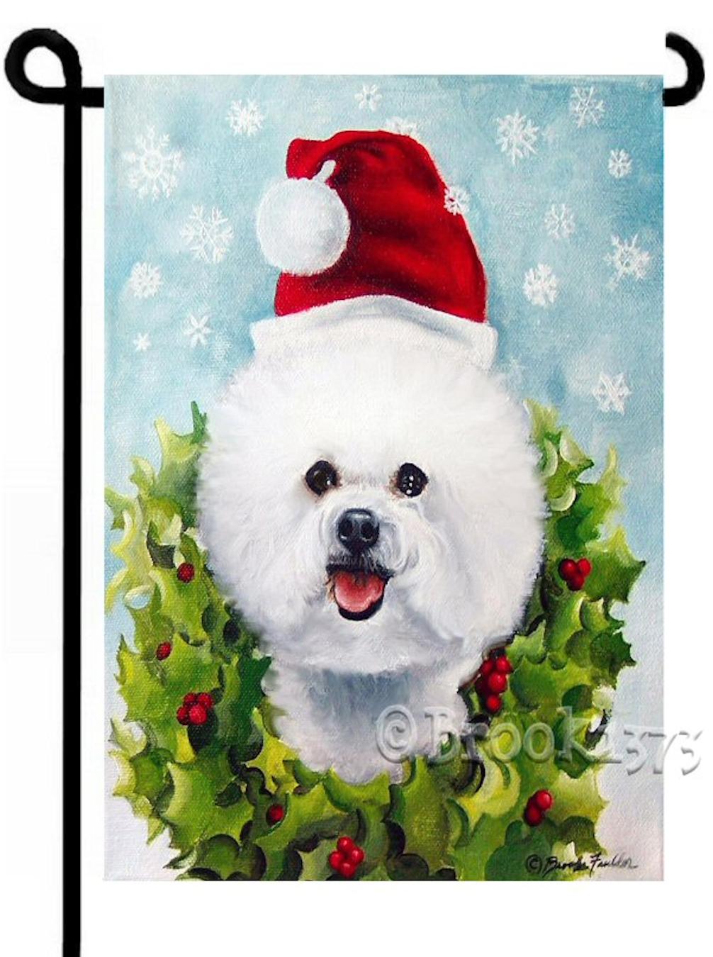 Bichon frise Christmas garden flag