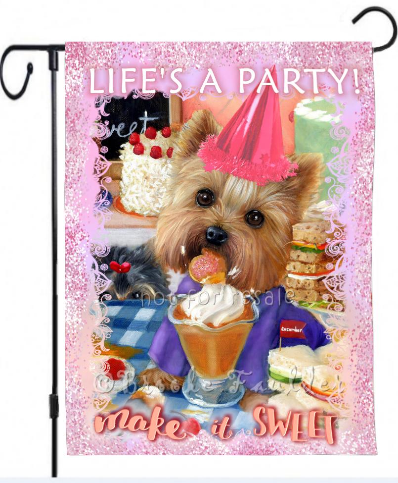Birthday garden flag with Yorkie dog art