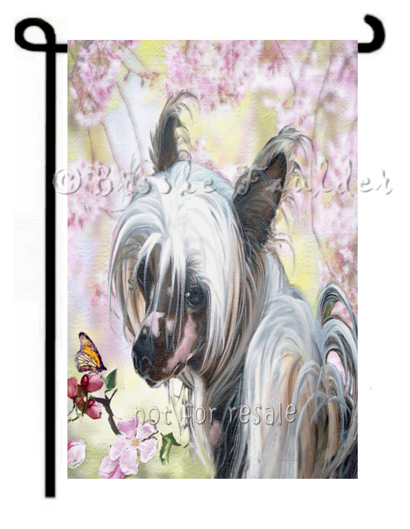 chinese crested painting garden flag