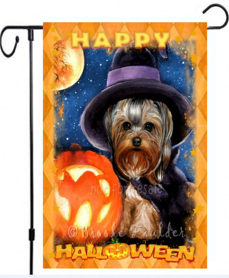 Halloween garden flag yorkshire terrier