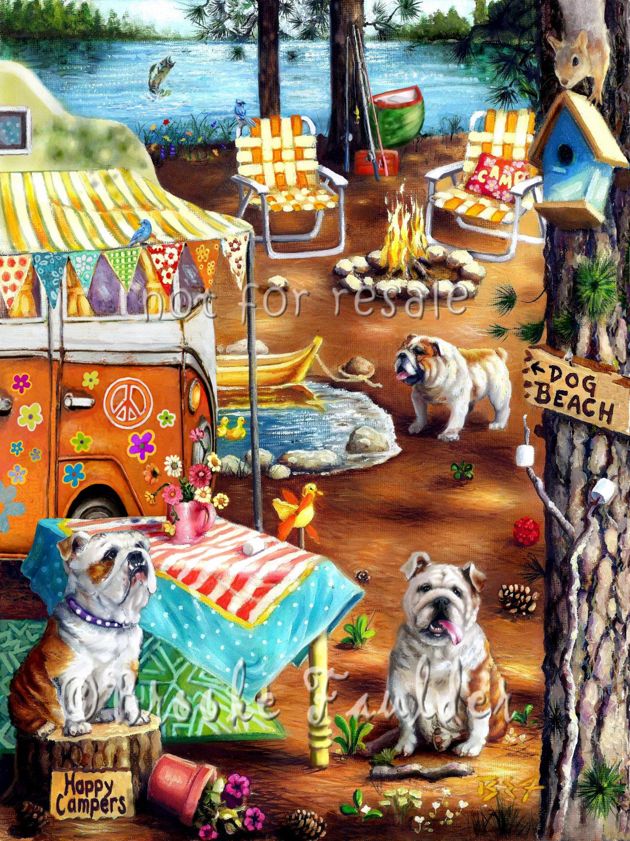 bulldogs camping oil painting dog art