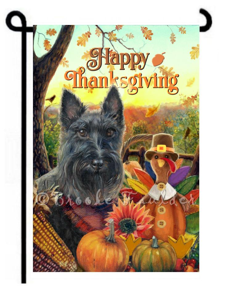 Garden flag Thanksgiving Scottish terrier painting