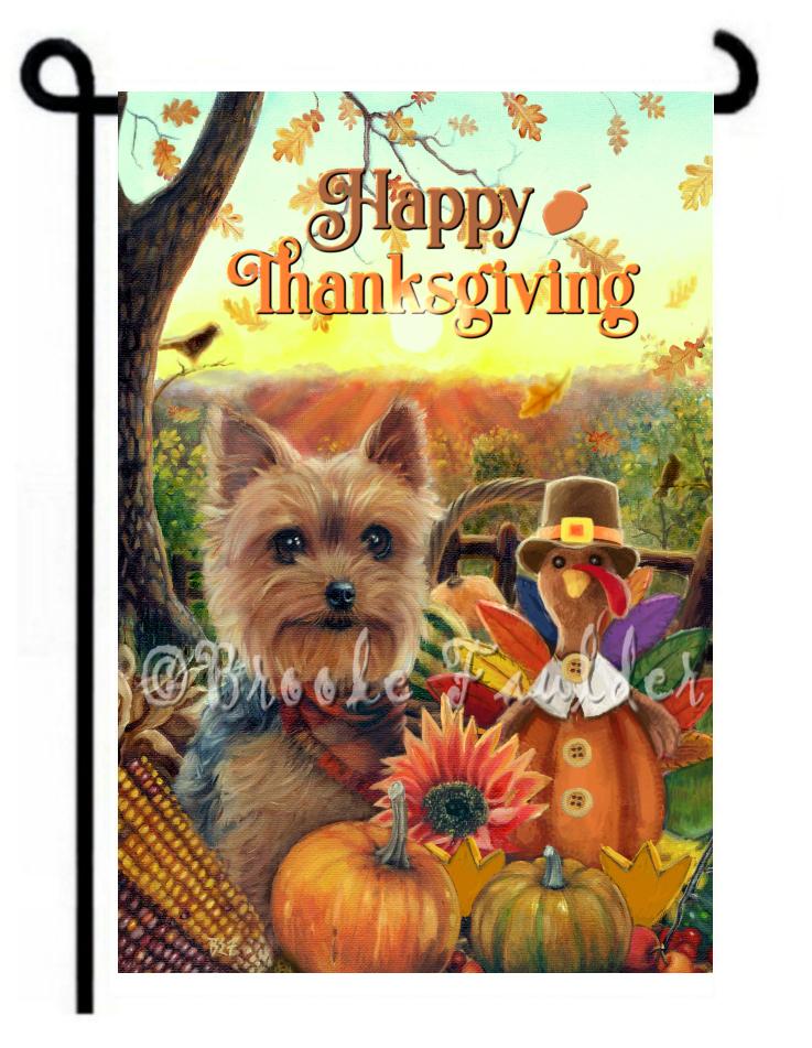Thanksgiving garden flag Yorkshire Terrier and turkey