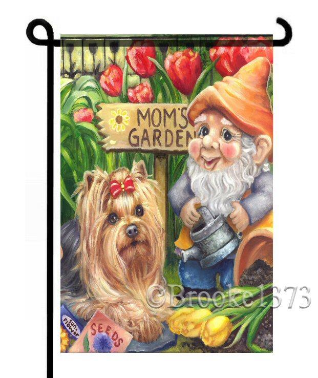Bon To Gnome Me Is To Love Me. Yorkie Garden Art Flag