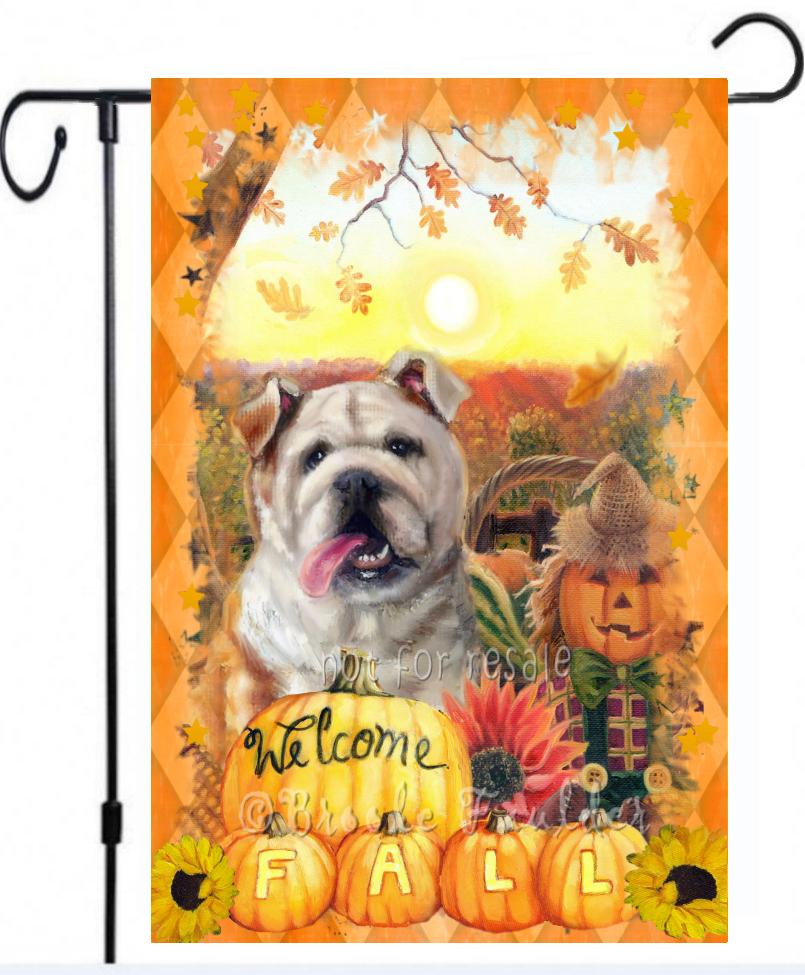 English Bulldog fall garden flag