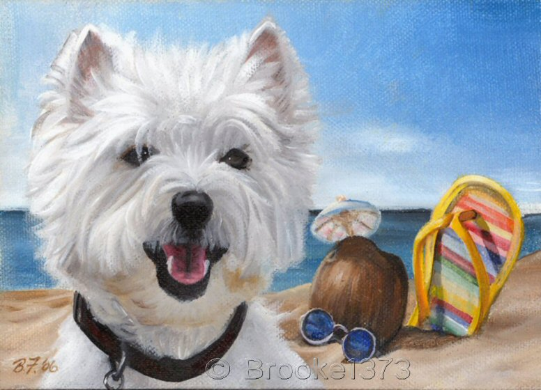 painting, print, dog, art, Westie