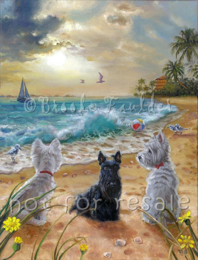 Westies Scottie at beach dog art