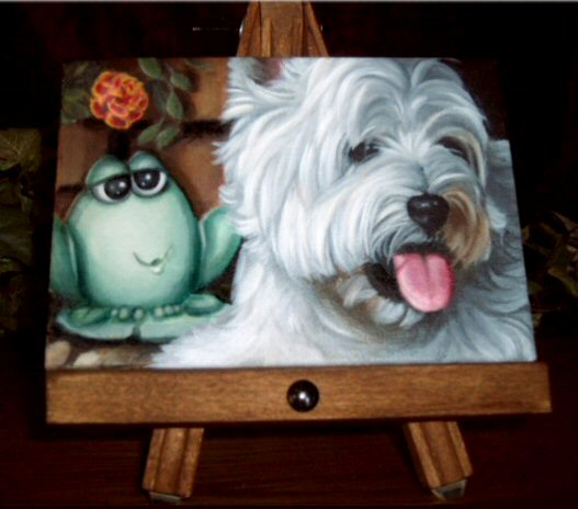 Westie, West Highland Terrier, Painting, art, canvas