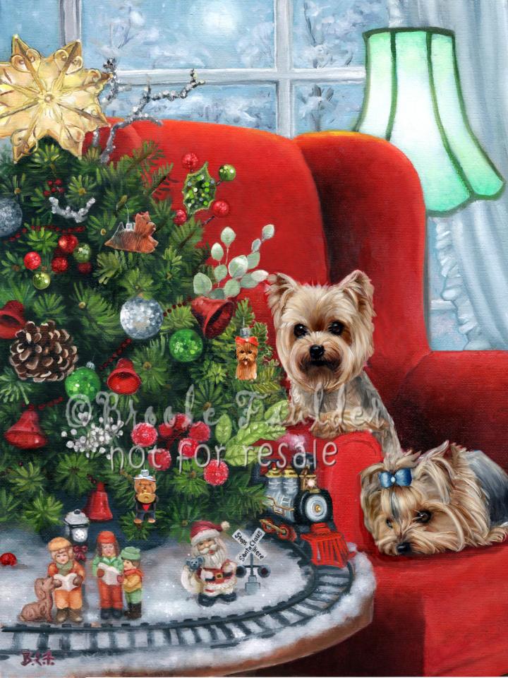 Christmas painting of two Yorkies train tree miniatures