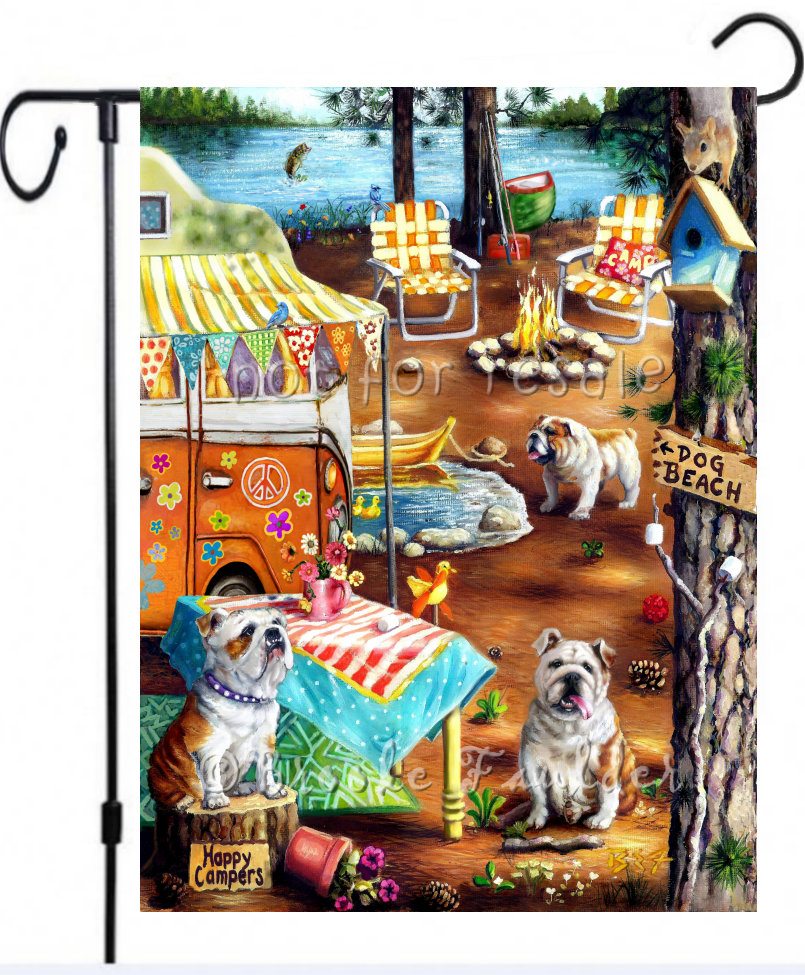 Happy Campers garden flag with English Bulldogs