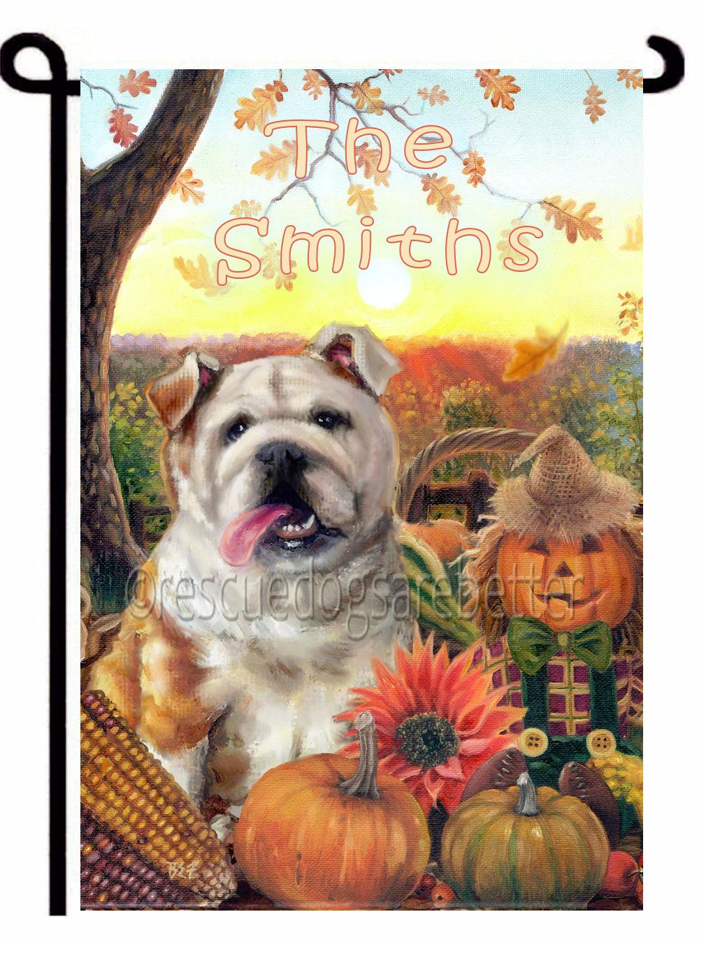Personalized autumn Bulldog garden flag