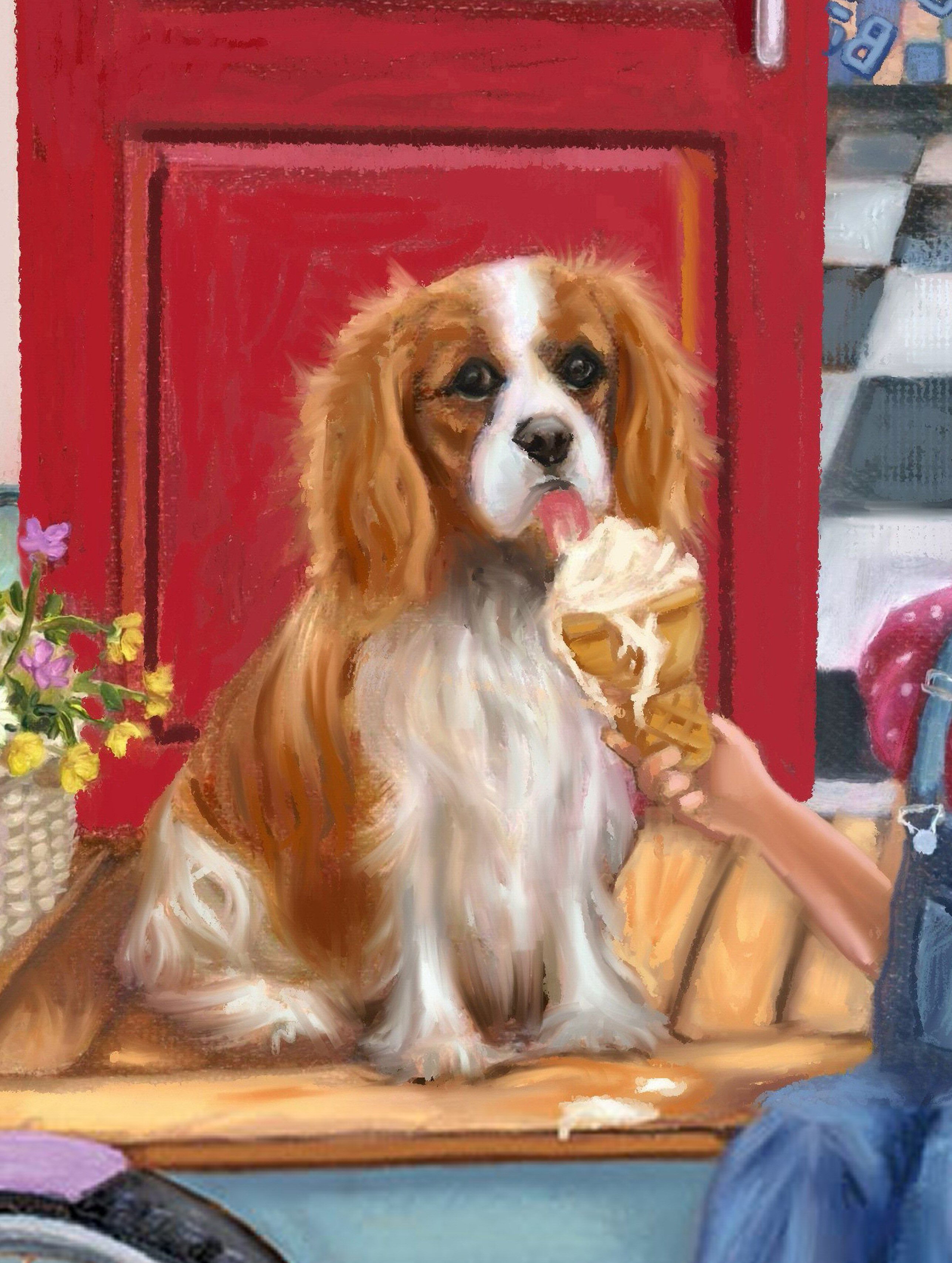 cavalier King Charles Spaniel. Image is taken from my own original painting, available as a garden flag.